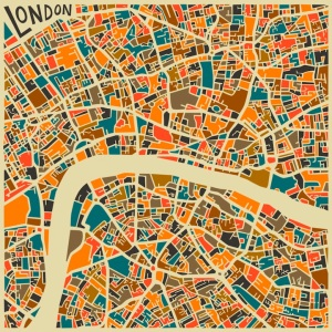 Abstract colourful city maps by Jazzberry Blue